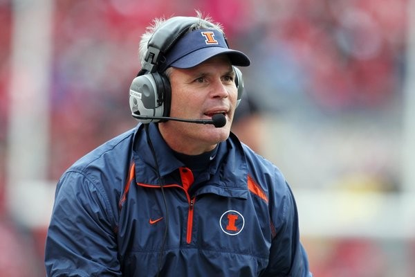 Oct 6, 2012; Madison, WI, USA; Illinois Fighting Illini head coach Tim Beckman argues a call during the second quarter against the Wisconsin Badgers at Camp Randall Stadium. Mandatory Credit: Brace Hemmelgarn-US PRESSWIRE ORG XMIT: USPW-91136